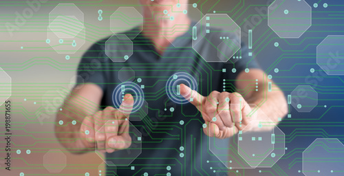 Man touching a digital technology concept on a touch screen