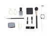 Cosmetics and accessories black and white on a white background. Styled image