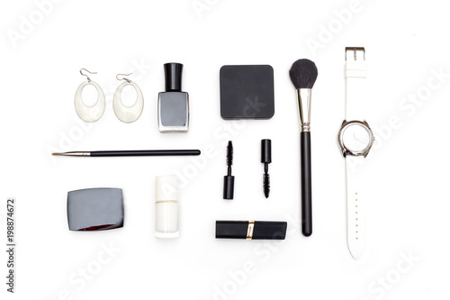 Cosmetics and accessories black and white on a white background. Styled image - 198874672