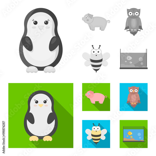 Fotobehang Uilen cartoon An unrealistic monochrome,flat animal icons in set collection for design. Toy animals vector symbol stock web illustration.