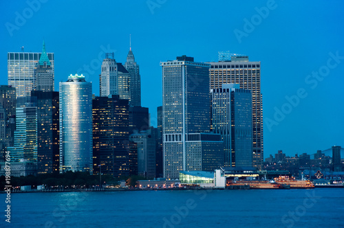 Foto op Aluminium New York View of New York City from the sea, blue hour