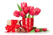 Red tulip flowers bouquet and gift box