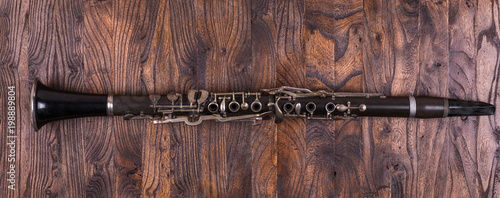 clarinet on a wooden background - 198889804