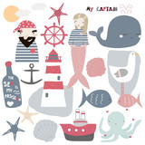 Set of cute nautical elements. Vector hand drawn illustration. - 198899076