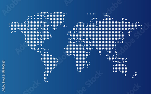 Plexiglas Wereldkaarten Dotted world map. Continents of the World map with dots on blue background.