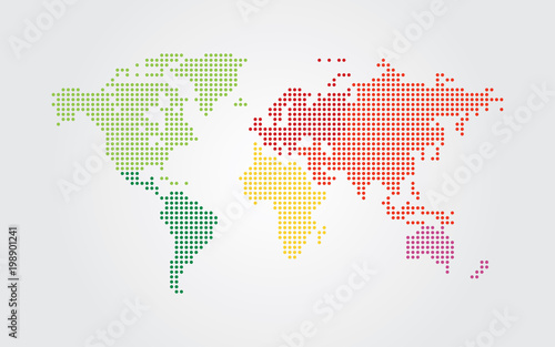 Dotted world map. Continents of the World map with colorful dots.