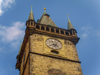 Top of The Clock Tower in Old Town Square in Prague, Czech Republic
