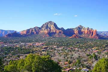 Landscape panoramic view of Sedona in Red Rock Country in the Coconino National Forest in Arizona, southwest United States