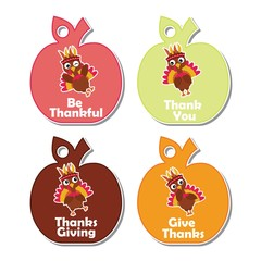 Vector cartoon illustration with colorful turkey birds character suitable for thanksgiving gift tag set design, thanks tag, and printable sticker set