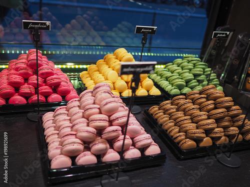 Fotobehang Macarons Colorful Macarons at the French Bakery in Paris
