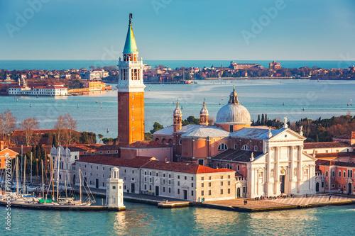 Widok z lotu ptaka przy San Giorgio Maggiore wyspą, Wenecja, Włochy
