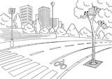 Street road graphic black white city landscape sketch illustration vector - 198929456