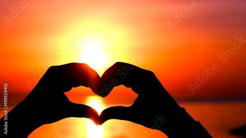 Foto op Plexiglas Oranje eclat Love shape symbol
