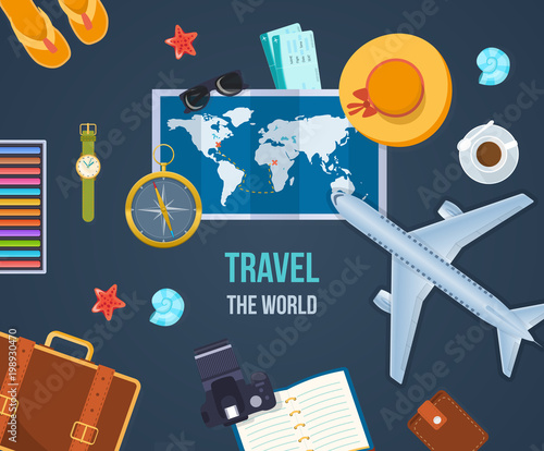 Summer travel world. Air travel by plane, journey, vacation, trip.