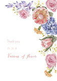 Vector floral banner, greeting card with various flower,  invitation set