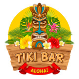 Fototapety Wooden Tiki mask and signboard of bar