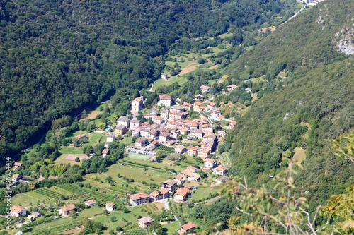 Townscape of village Biacese with mountain panorama near Lake Garda, Italy