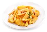plate of roasted potatoes with rosemary - 198935825