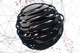 3D striped decorative balls. Abstract 3d illustration. Black and red on white