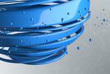 3D striped decorative balls. Abstract 3d illustration. Blue
