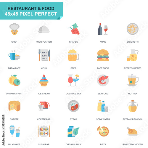 Simple Set Restaurant and Food Flat Icons for Website and Mobile Apps. Contains such Icons as Fast Food, Menu, Organic Fruit, Coffee Bar. 48x48 Pixel Perfect. Editable Stroke. Vector illustration. - 198940889