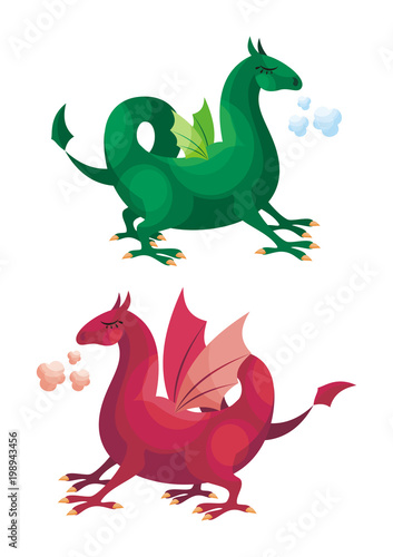 Colorful image of a fairytale dragon. Vector illustration in cartoon style isolated on a white background. - 198943456