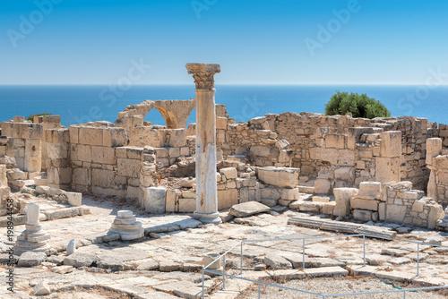 Fotobehang Cyprus Ancient column at Kourion archaeological site, Limassol District, Cyprus.