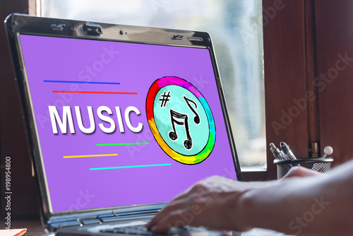 Online music concept on a laptop screen - 198954800