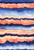 Watercolor Illustration with Orange Deep Blue Stripes - 198956673