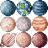 Set of Watercolor Planets. Hand Drawn Solar System - 198956675