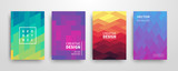 Modern futuristic abstract geometric covers set - 198957252