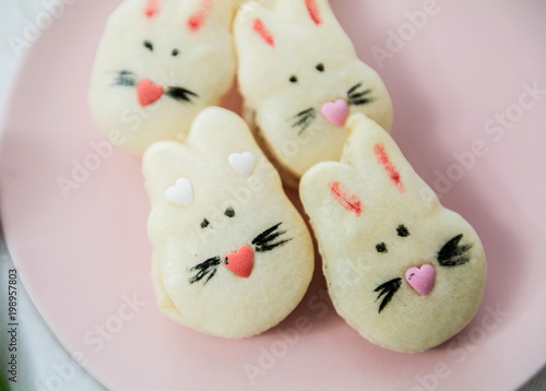 Fotobehang Macarons Cookies Macarons Sweet Biscuit