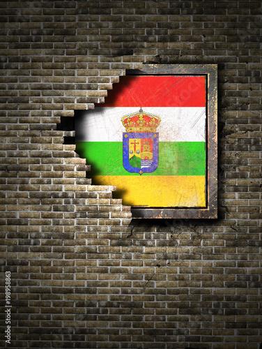 Old La Rioja flag in brick wall
