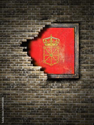 Old Navarra flag in brick wall