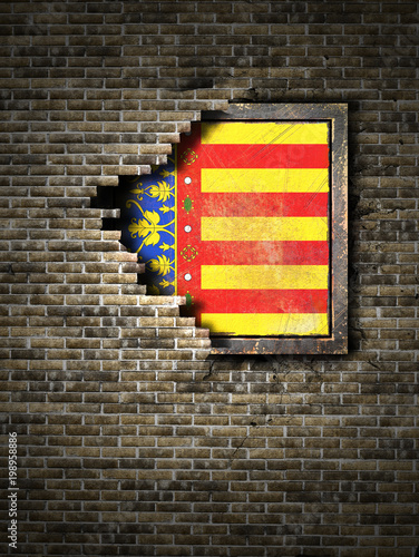 Old Valencia flag in brick wall