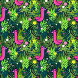 Tropical seamless pattern with pink flamingos and palm leaves. Design for fabric, wallpaper, textile and decor. - 198964003
