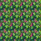 Tropical seamless pattern with pink flamingos and palm leaves. Design for fabric, wallpaper, textile and decor. - 198964636