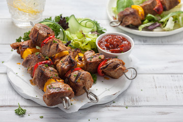 Grilled pork kebabs © azurita