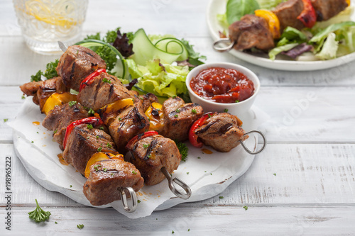 Grilled pork kebabs - 198965222