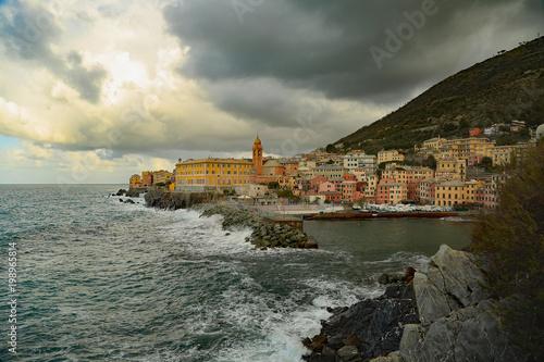 In de dag Liguria Liguria genova nervi mareggiata sul porticciolo
