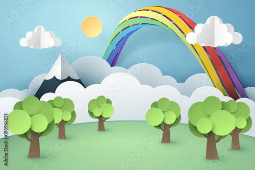 Paper art of forest and rainbow