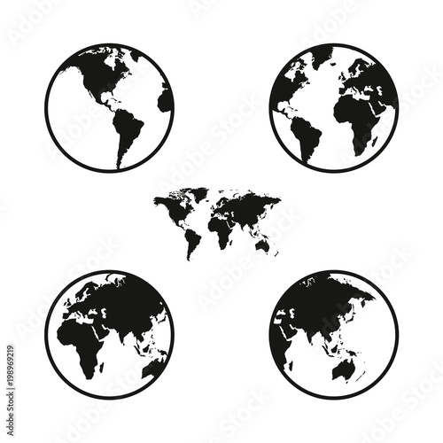 World map on globe from different sides simple black icons on white world map on globe from different sides simple black icons on white gumiabroncs Image collections