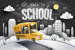 Paper art of school bus running out from city to school with blackboard