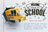 Paper art of school bus jumping out from notepad - 198969697