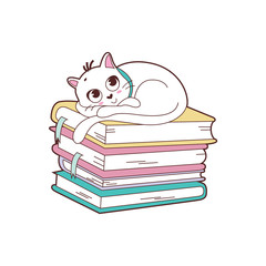 the cat waiting on top of the book