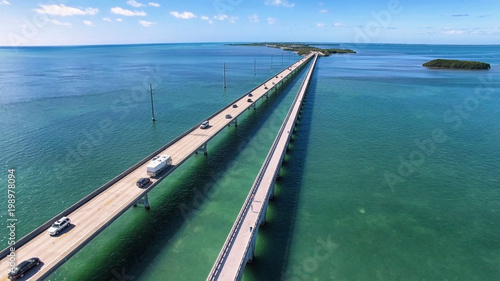 Aerial view along the seven mile bridge of US1 to the florida keys - 198978094