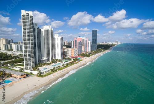 Aerial view of North Miami Beach - white sandy beach with clear blue tropical ocean waters, Aerial view, Miami, Florida, USA - 198978204