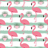 pattern with stripes and flamingos - 198980213