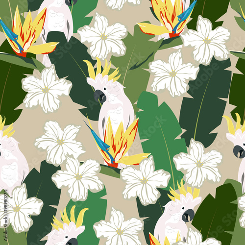 tropical pattern with parrot - 198980224