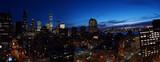Skyline view of Manhattan & Jersey City at night in New York City.